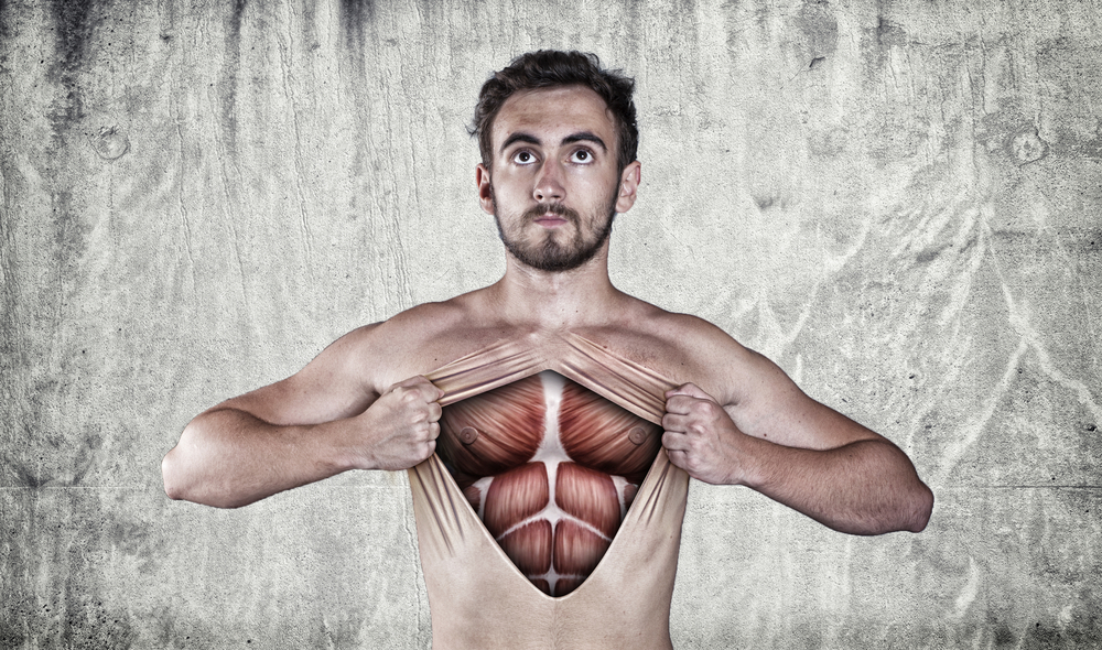 an illustration of a man showing his muscles under his skin.