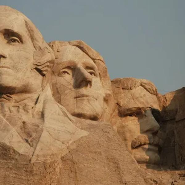 Mount Rushmore of US presidents.