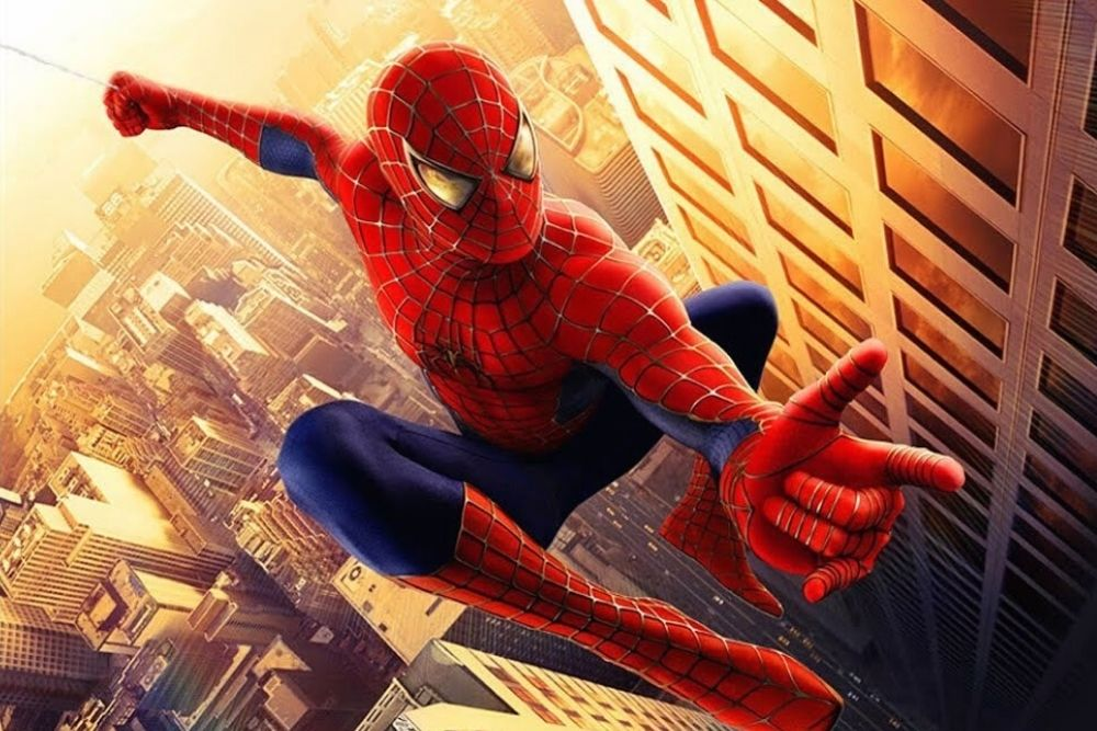 Spiderman jumping between buildings, in an official poster of a movie.
