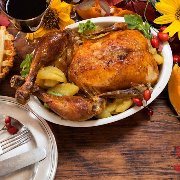 A thanksgiving turkey in a dinner.