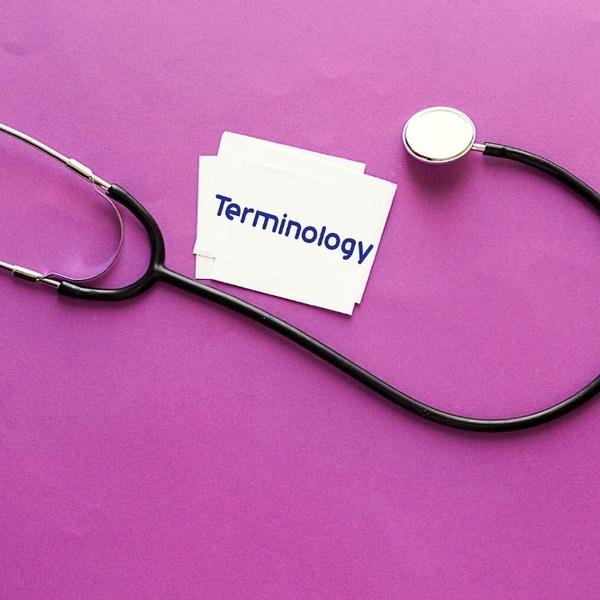 """Medical Stethoscope with the word """"Terminology"""" written on a paper."""