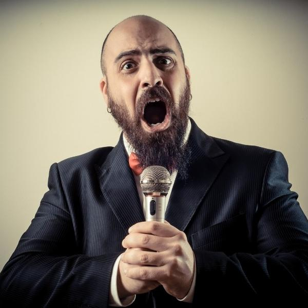A funny singer singing a song.