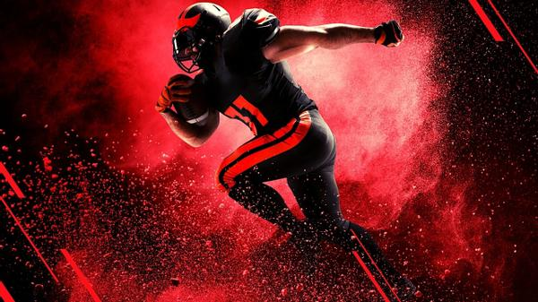 An NFL football player on a red & black background.